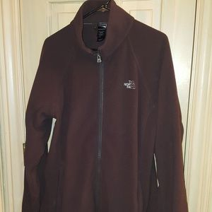 Mens sz XL North Face brown fleece full zip jacket